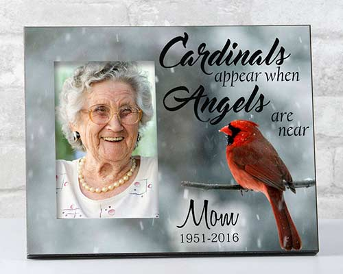 "Sympathy gift photo frame ""When cardinals appear..."""