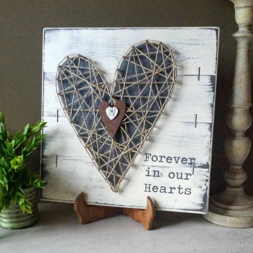FOREVER IN OUR HEARTS WOVEN HEART SIGN. Woven heart sympathy gift plaque