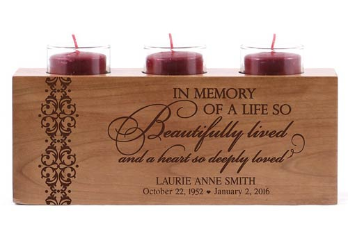 Wood candle holder sympathy gift with engraved condolence message