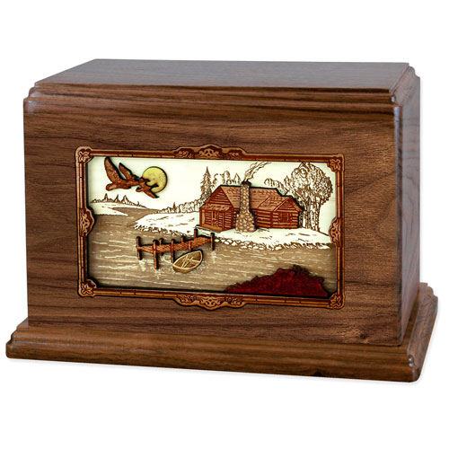 Wood Inlay Art Cremation Urn in Companion Size