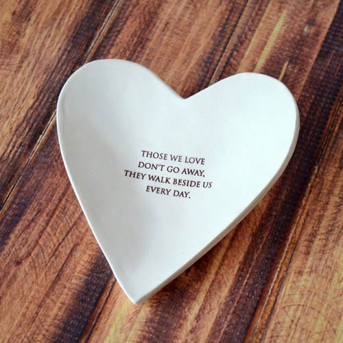 Hand made ceramic heart sympathy gift bowl