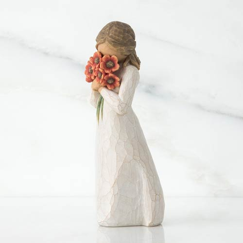 Willow Tree Carved Figurine with Flowers - Sympathy Gift Idea