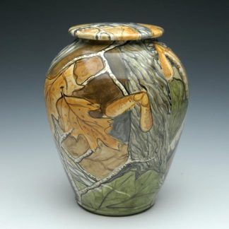 Camouflage Forest Ceramic Cremation Urn for Hunters and Hikers