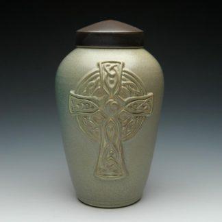 Ceramic Memorial Urn for Christians with Celtic Cross