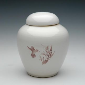 Ceramic Cremation Urns - Hummingbird and Flowers