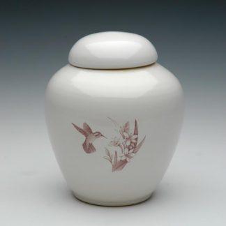 Ceramic Cremation Urns - Hummingbird and Flowers