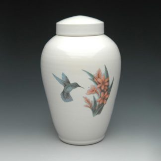 Ceramic Cremation Urn with Hummingbird and Flowers