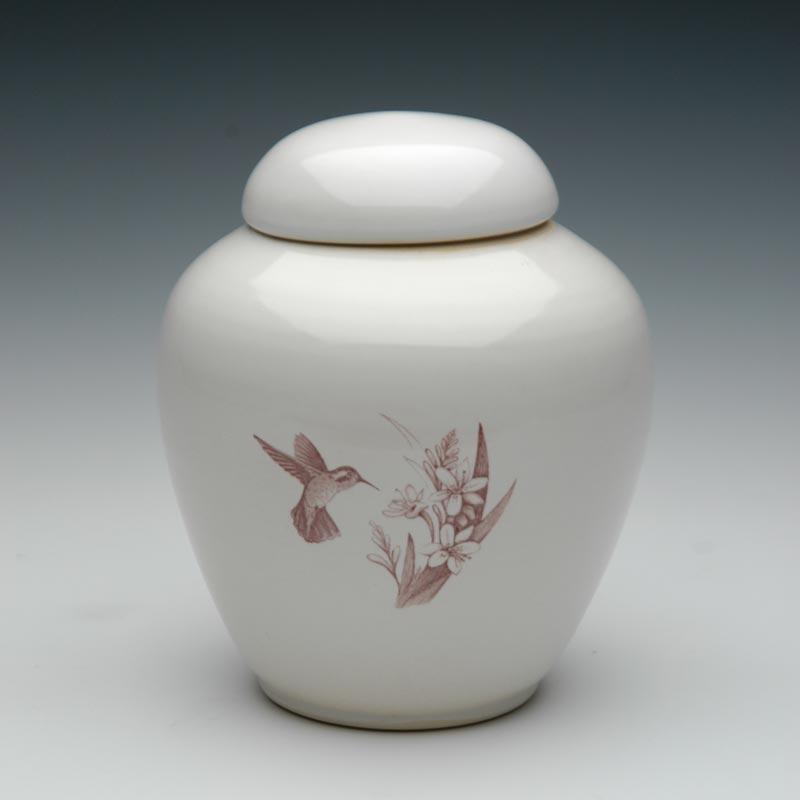 Handmade Hummingbird Ceramic Cremation Urn