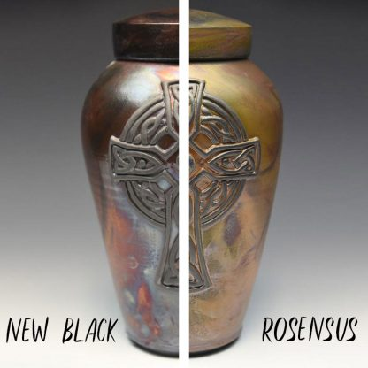 Finish choices for handmade Celtic Cross cremation urn