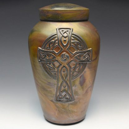 Celtic Cross Raku Ceramic Cremation Urn