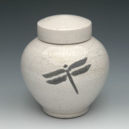 Dragonfly Raku Ceramic Cremation Urn for Ashes