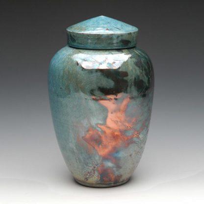 Raku Fired Blue Ceramic Cremation Urns