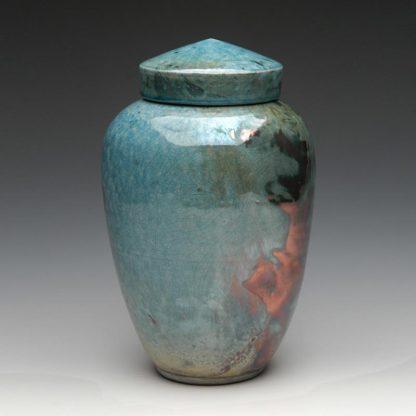Ceramic Raku Cremation Urn in a lovely blue