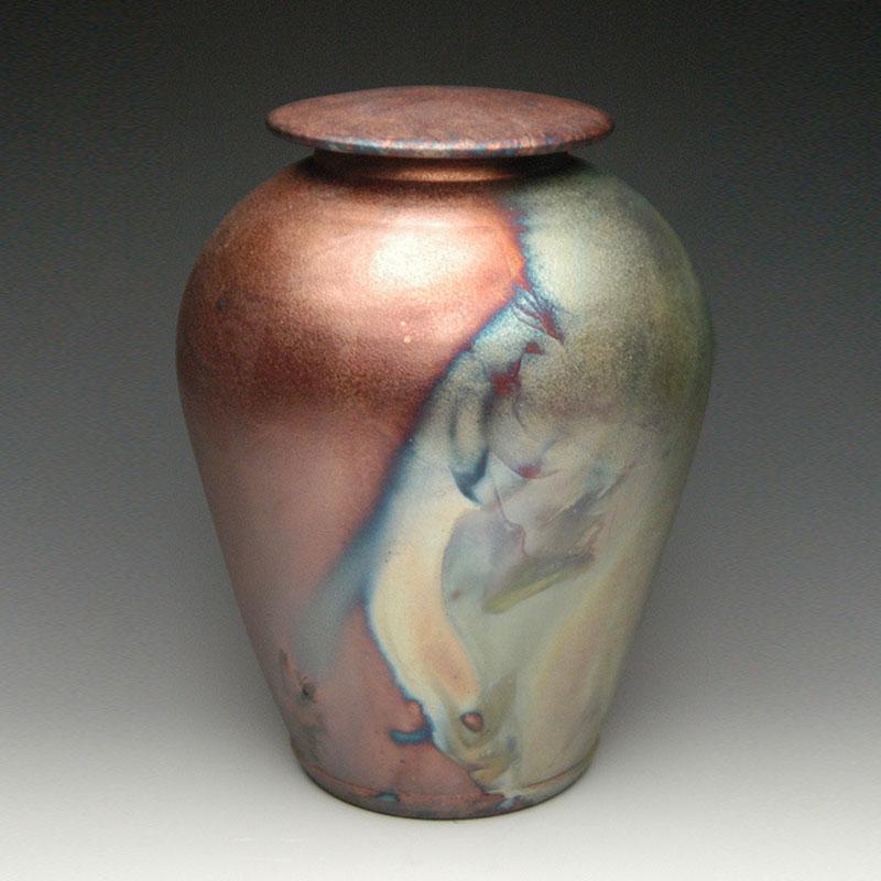Handmade Ceramic Cremation Urn in Simple Raku Style