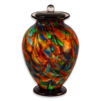 Gorgeous Hand-blown Glass Cremation Urn in Autumn Leaves colors