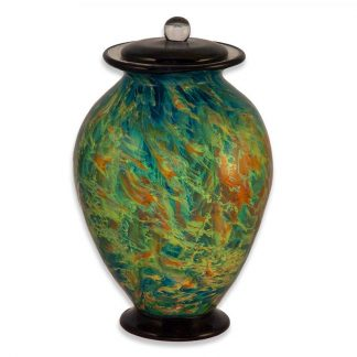 Stunning hand blown Glass Urn with lovely greens and blues