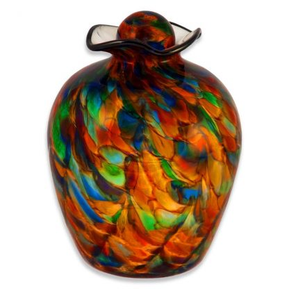 Autumn colors shine in this exquisite hand-blown glass cremation urn