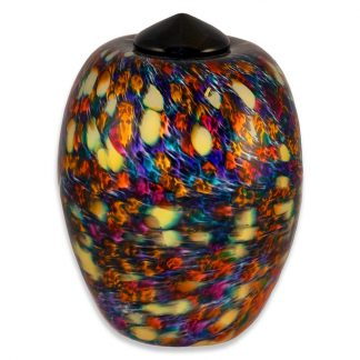 Hand blown glass memorial art urn, made in the USa