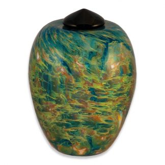 "Stunning hand blown Glass Urn - ""Classic"" sky color"