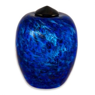 Stunning hand blown Glass Urn - Water Blue