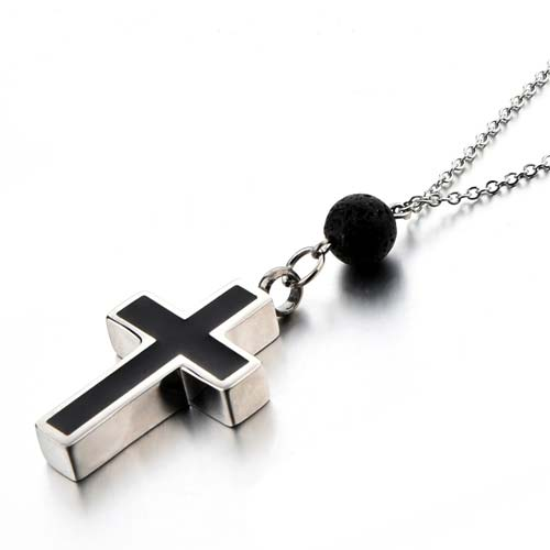 Cross Cremation Jewelry with Lava Rock Aromatherapy Diffusion Bead