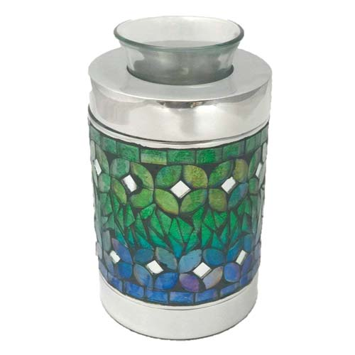 Blue Mosaic Keepsake Urn with Tealight Candle Holder