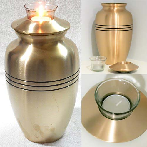 Brass Cremation Urn with Tealight Candle Top