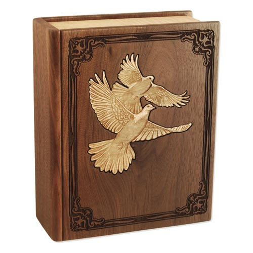 Solid wood cremation urn made like a book