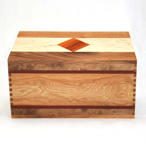 Solid wood cremation urn with beautiful wood inlays