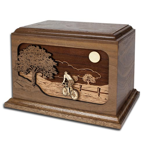 Bicycle Road Home Inlay Art Wooden Cremation Urn