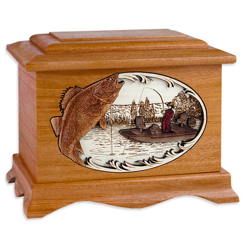Fish Urns with Wood Art Inlay