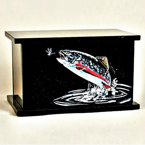 Black Granite Fish Cremation Urn