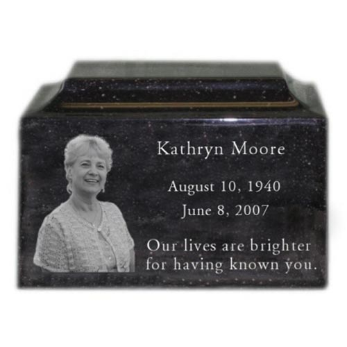 Black granite urn engraved with photo