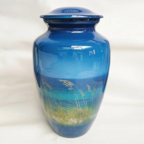 Beach photo cremation urn