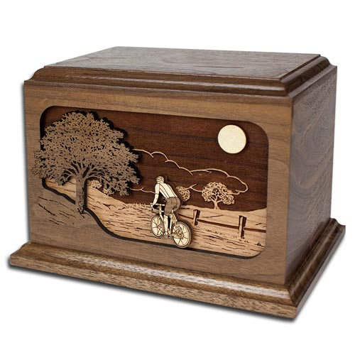 Wooden Bicycle Cremation Urn Inlay Art