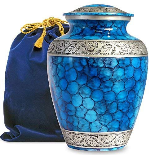 Blue Metal Vase Cremation Urn for Human Ashes