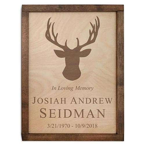 Wall Mounted Wood Cremation Urn Plaque - Includes Personalization