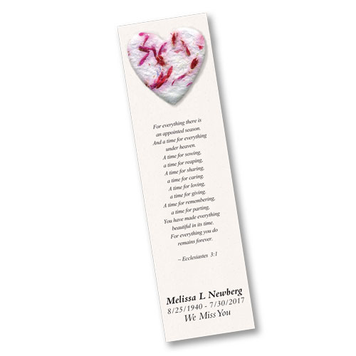 Seed Paper Bookmarks - Memorial Service Favors