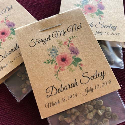 Forget Me Not Seed Packet Funeral Favors
