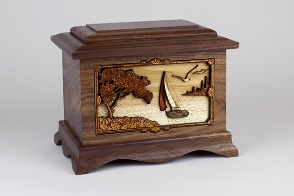 Beautiful Sailing Wood Cremation Urn
