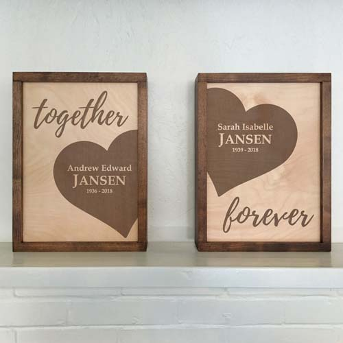 Wall-Mounted Memorial Plaque Urns for Couples