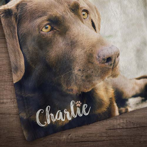Fleece Pet Photo Blanket - Custom Photo & Name