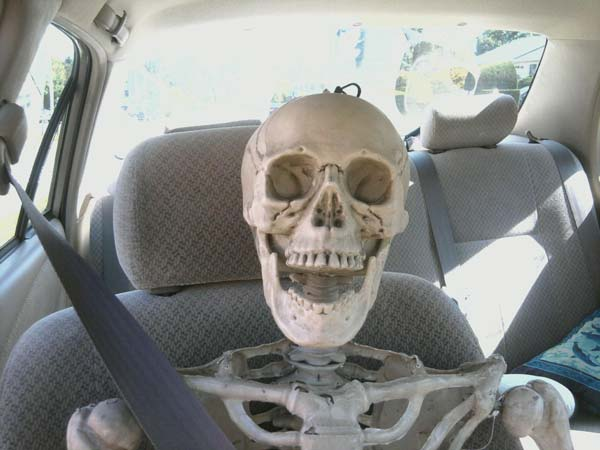 Smiling Skeleton Funeral Photo