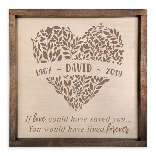 Handcrafted Wooden Memorial Plaque for Men