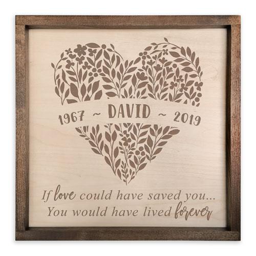 Handcrafted Wooden Memorial Plaque for Men