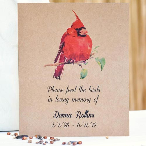 Cardinal Seed Packets Sympathy Seed Paper