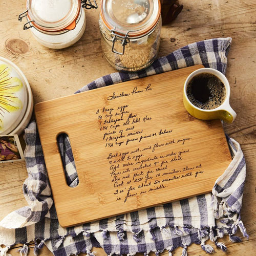 Handwriting Recipe Cutting Board Memorial