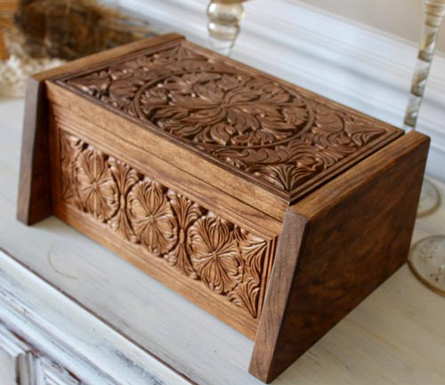 Hand crafted and sculpted wood cremation urn for moms