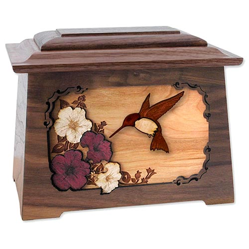 Wooden Cremation Urn for Mom with Hummingbird Inlay
