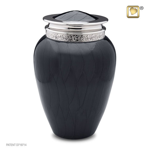 Midnight Black Metal Cremation Urn